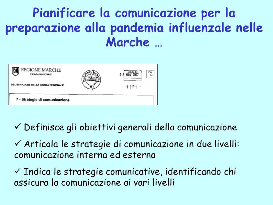 Pianificare la comunicazione per la preparazione alla pandemia influenzale nelle Marche … Definisce gli obiettivi generali della comunicazione Articol