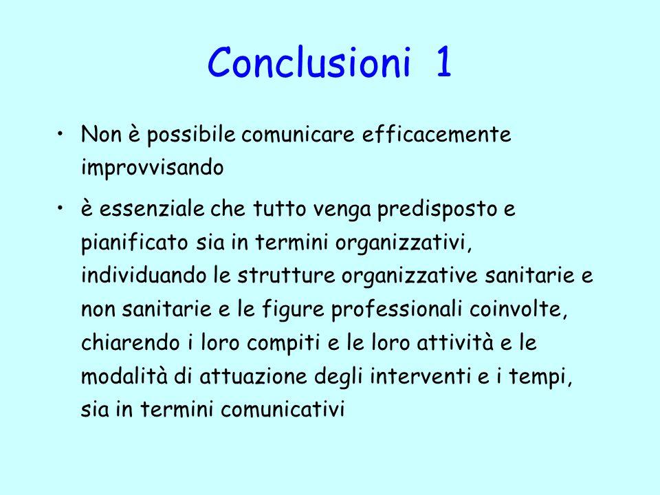 Conclusioni 1 Non è possibile comunicare efficacemente improvvisando è essenziale che tutto venga predisposto e pianificato sia in termini organizzati