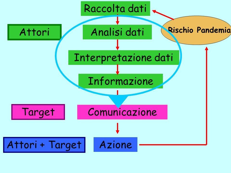 Informazione Comunicazione Target Azione Analisi dati Rischio Pandemia Raccolta dati Interpretazione dati Attori + Target Attori