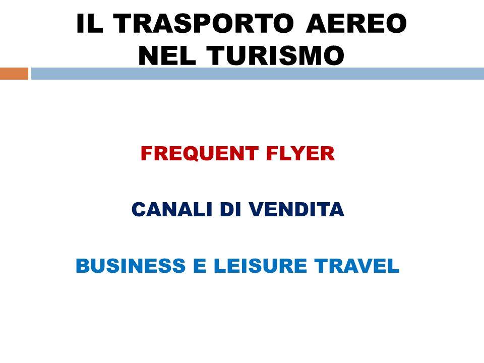 IL TRASPORTO AEREO NEL TURISMO FREQUENT FLYER CANALI DI VENDITA BUSINESS E LEISURE TRAVEL
