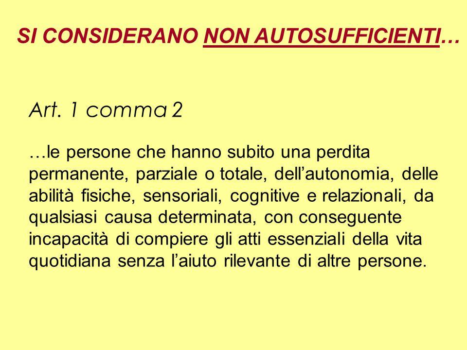 SI CONSIDERANO NON AUTOSUFFICIENTI… Art.