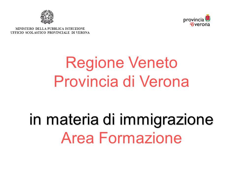 Regione Veneto Provincia di Verona in materia di immigrazione Area Formazione MINISTERO DELLA PUBBLICA ISTRUZIONE UFFICIO SCOLASTICO PROVINCIALE DI VERONA