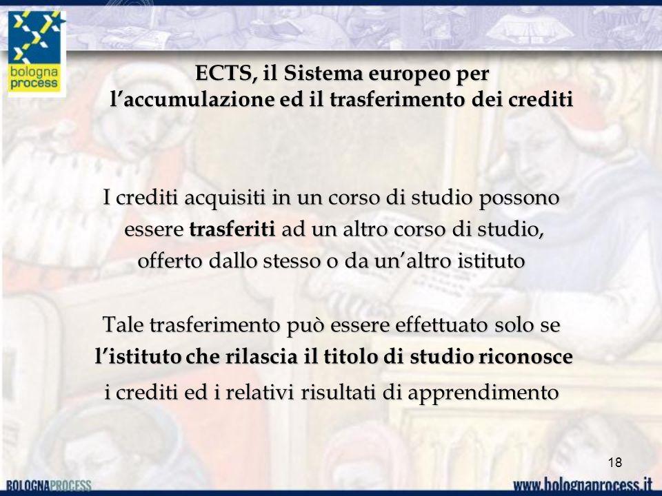 ECTS, il Sistema europeo per laccumulazione ed il trasferimento dei crediti I crediti acquisiti in un corso di studio possono essere trasferiti ad un altro corso di studio, essere trasferiti ad un altro corso di studio, offerto dallo stesso o da unaltro istituto Tale trasferimento può essere effettuato solo se listituto che rilascia il titolo di studio riconosce listituto che rilascia il titolo di studio riconosce i crediti ed i relativi risultati di apprendimento 18
