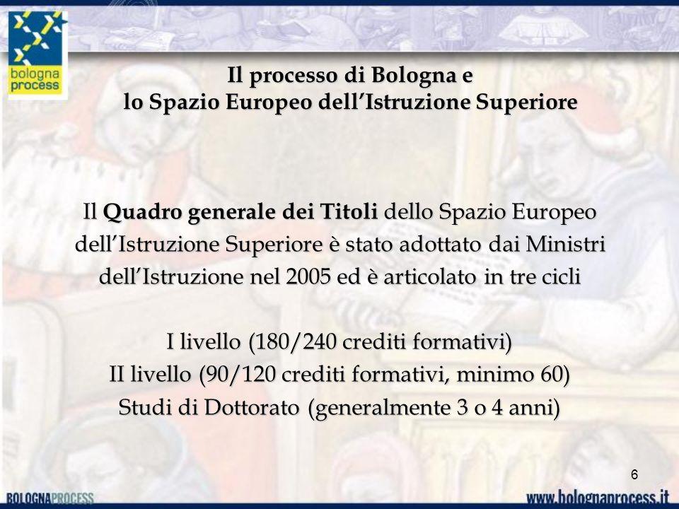 Il processo di Bologna e lo Spazio Europeo dellIstruzione Superiore Il Quadro generale dei Titoli dello Spazio Europeo dellIstruzione Superiore è stato adottato dai Ministri dellIstruzione nel 2005 ed è articolato in tre cicli I livello (180/240 crediti formativi) II livello (90/120 crediti formativi, minimo 60) Studi di Dottorato (generalmente 3 o 4 anni) 6