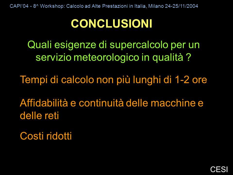 CAPI04 - 8^ Workshop: Calcolo ad Alte Prestazioni in Italia, Milano 24-25/11/2004 CESI CONCLUSIONI Quali esigenze di supercalcolo per un servizio meteorologico in qualità .