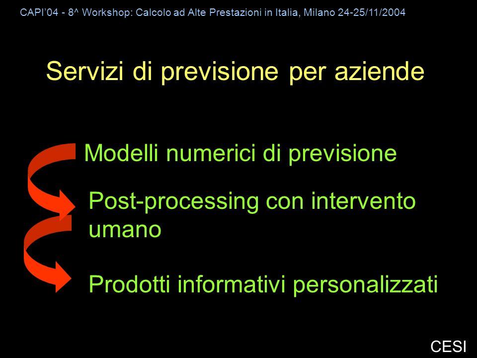 CAPI04 - 8^ Workshop: Calcolo ad Alte Prestazioni in Italia, Milano 24-25/11/2004 CESI Servizi di previsione per aziende Modelli numerici di previsione Post-processing con intervento umano Prodotti informativi personalizzati