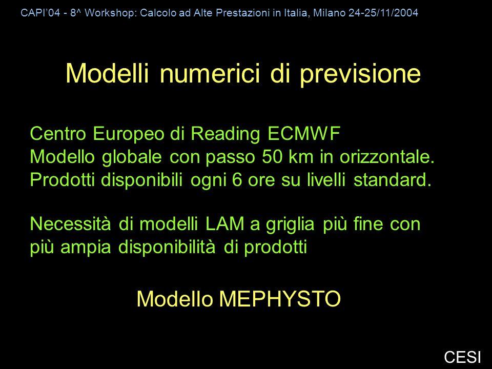 CAPI04 - 8^ Workshop: Calcolo ad Alte Prestazioni in Italia, Milano 24-25/11/2004 CESI Modelli numerici di previsione Centro Europeo di Reading ECMWF Modello globale con passo 50 km in orizzontale.