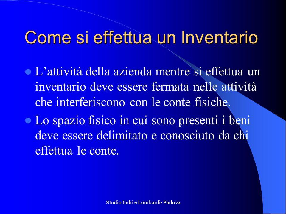 Studio Indri e Lombardi- Padova Come si effettua un Inventario Lattività della azienda mentre si effettua un inventario deve essere fermata nelle atti