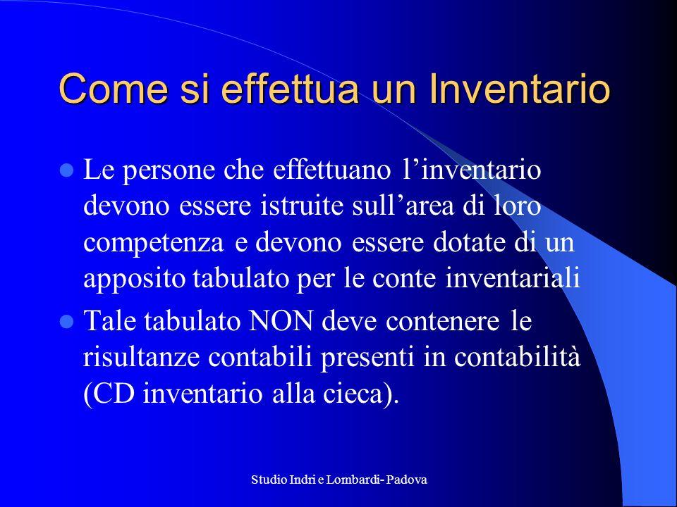 Studio Indri e Lombardi- Padova Come si effettua un Inventario Le persone che effettuano linventario devono essere istruite sullarea di loro competenz