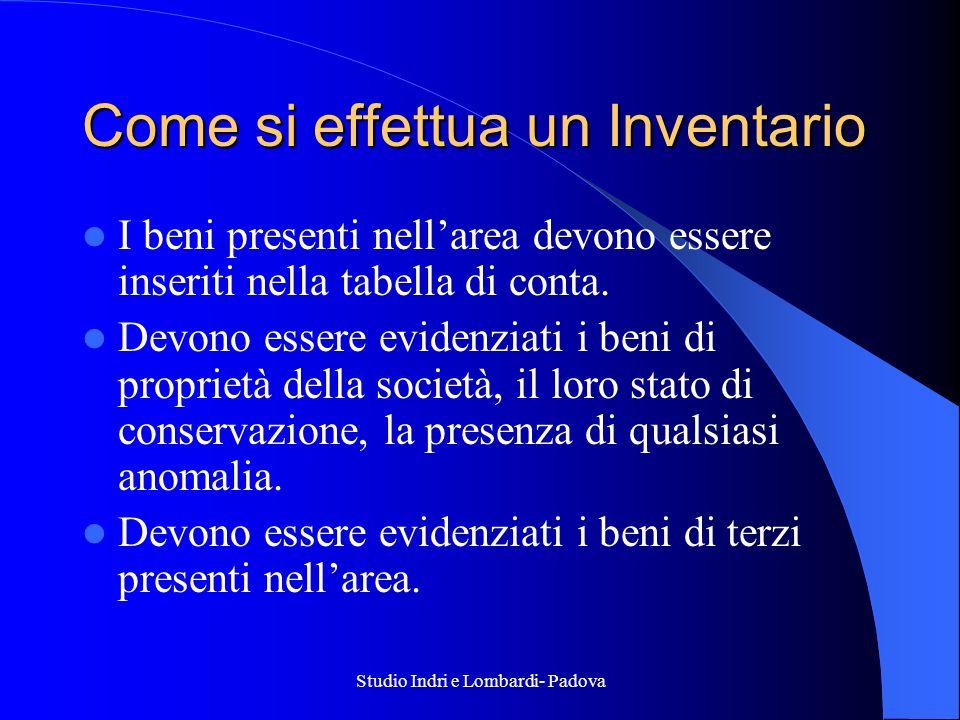 Studio Indri e Lombardi- Padova Come si effettua un Inventario I beni presenti nellarea devono essere inseriti nella tabella di conta. Devono essere e