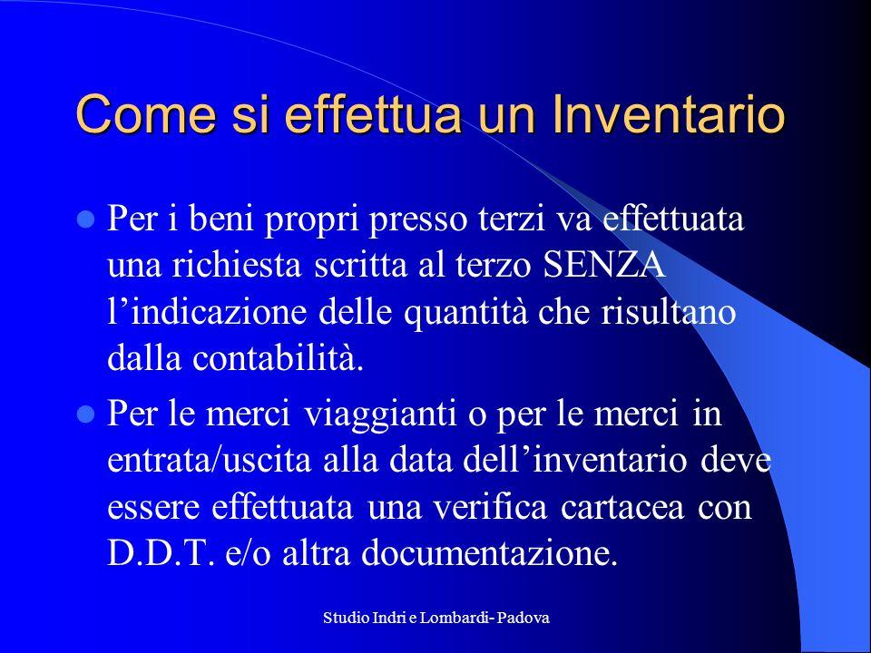 Studio Indri e Lombardi- Padova Come si effettua un Inventario Per i beni propri presso terzi va effettuata una richiesta scritta al terzo SENZA lindi
