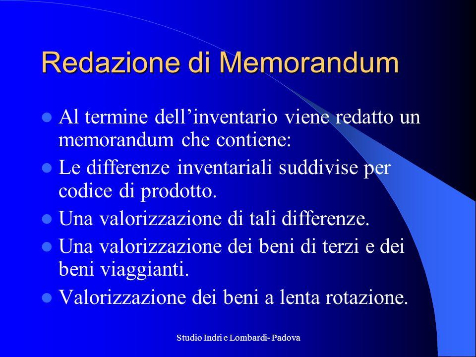 Studio Indri e Lombardi- Padova Redazione di Memorandum Al termine dellinventario viene redatto un memorandum che contiene: Le differenze inventariali