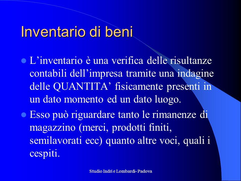 Studio Indri e Lombardi- Padova Inventario di beni Linventario è una verifica delle risultanze contabili dellimpresa tramite una indagine delle QUANTI