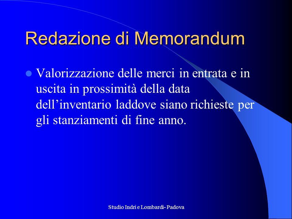 Studio Indri e Lombardi- Padova Redazione di Memorandum Valorizzazione delle merci in entrata e in uscita in prossimità della data dellinventario ladd