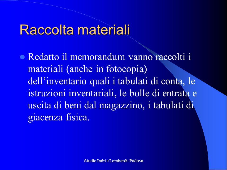Studio Indri e Lombardi- Padova Raccolta materiali Redatto il memorandum vanno raccolti i materiali (anche in fotocopia) dellinventario quali i tabula
