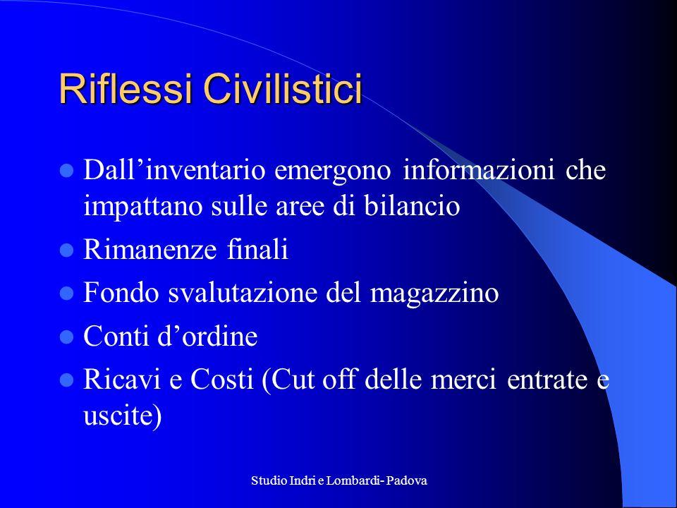 Studio Indri e Lombardi- Padova Riflessi Civilistici Dallinventario emergono informazioni che impattano sulle aree di bilancio Rimanenze finali Fondo