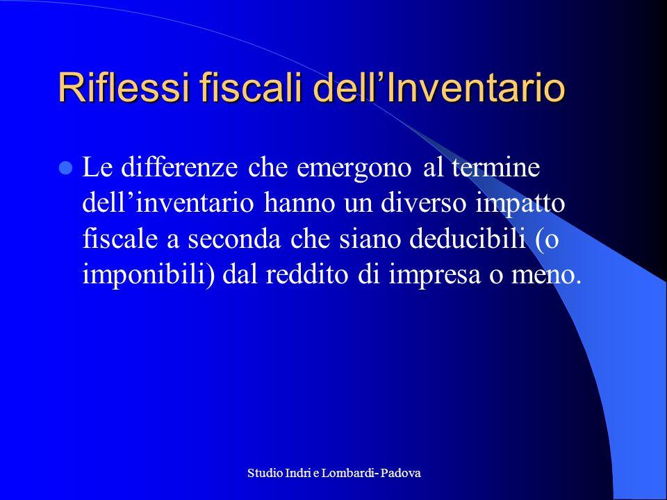 Studio Indri e Lombardi- Padova Riflessi fiscali dellInventario Le differenze che emergono al termine dellinventario hanno un diverso impatto fiscale