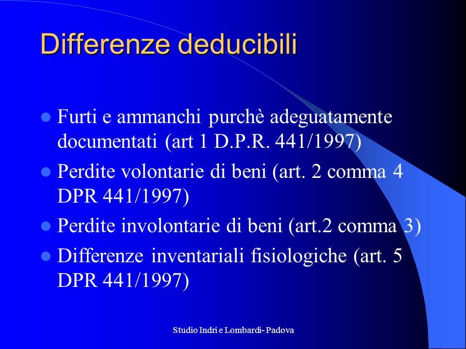 Studio Indri e Lombardi- Padova Differenze deducibili Furti e ammanchi purchè adeguatamente documentati (art 1 D.P.R. 441/1997) Perdite volontarie di