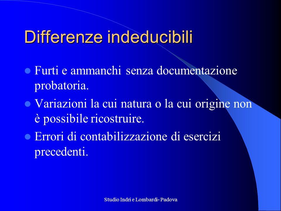 Studio Indri e Lombardi- Padova Differenze indeducibili Furti e ammanchi senza documentazione probatoria. Variazioni la cui natura o la cui origine no