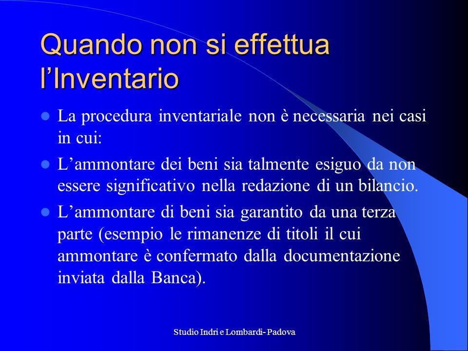 Studio Indri e Lombardi- Padova Quando non si effettua lInventario La procedura inventariale non è necessaria nei casi in cui: Lammontare dei beni sia