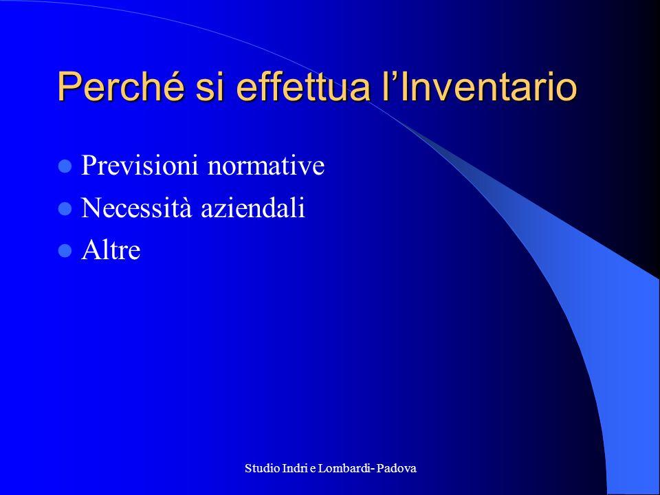 Studio Indri e Lombardi- Padova Perché si effettua lInventario Previsioni normative Necessità aziendali Altre
