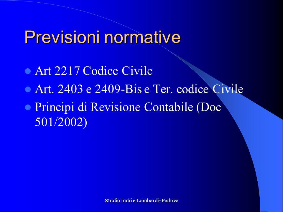Studio Indri e Lombardi- Padova Previsioni normative Art 2217 Codice Civile Art. 2403 e 2409-Bis e Ter. codice Civile Principi di Revisione Contabile