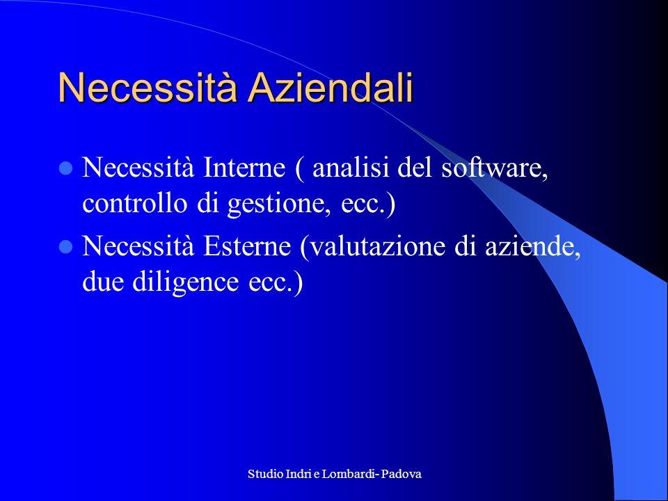 Studio Indri e Lombardi- Padova Necessità Aziendali Necessità Interne ( analisi del software, controllo di gestione, ecc.) Necessità Esterne (valutazi