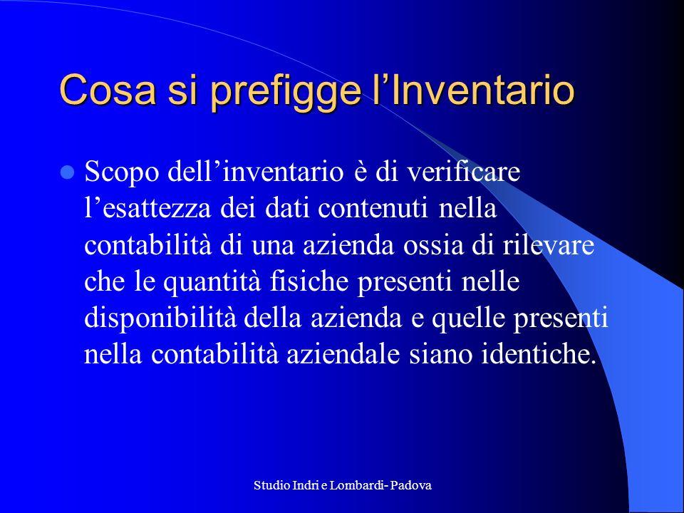 Studio Indri e Lombardi- Padova Cosa si prefigge lInventario Scopo dellinventario è di verificare lesattezza dei dati contenuti nella contabilità di u