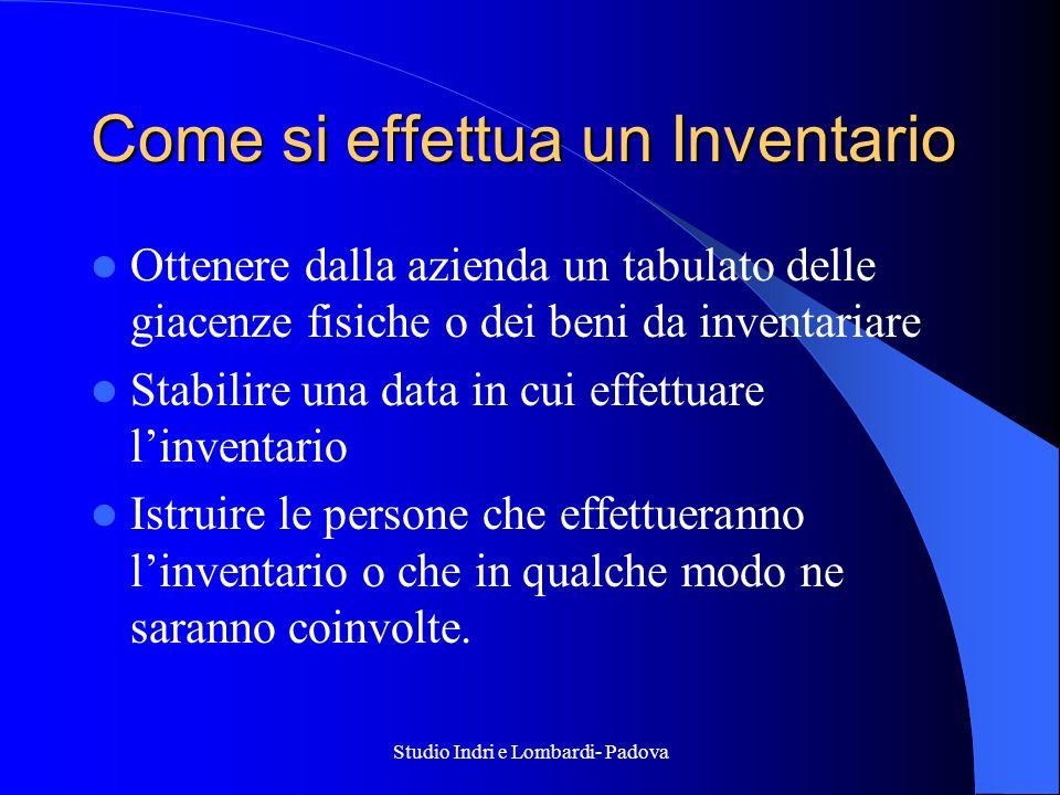 Studio Indri e Lombardi- Padova Come si effettua un Inventario Ottenere dalla azienda un tabulato delle giacenze fisiche o dei beni da inventariare St
