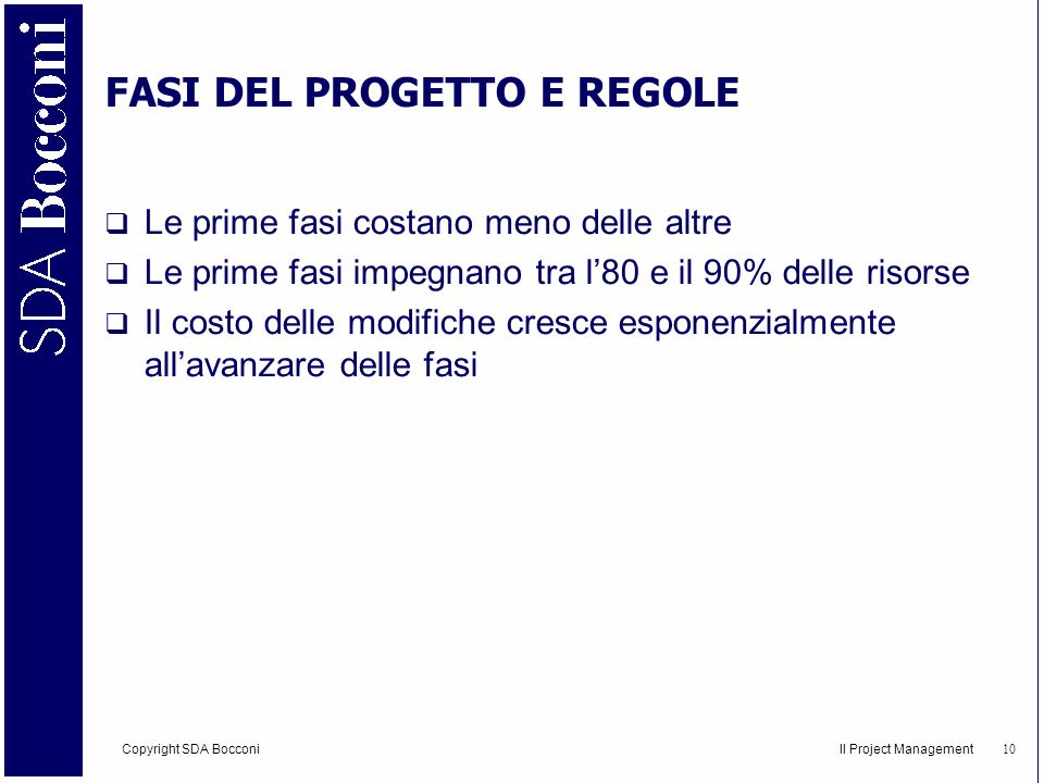 Copyright SDA Bocconi Il Project Management 11 Come gestire efficacemente un progetto?