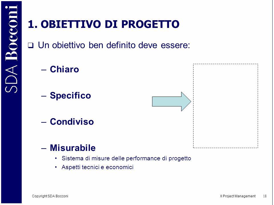 Copyright SDA Bocconi Il Project Management 19 2.