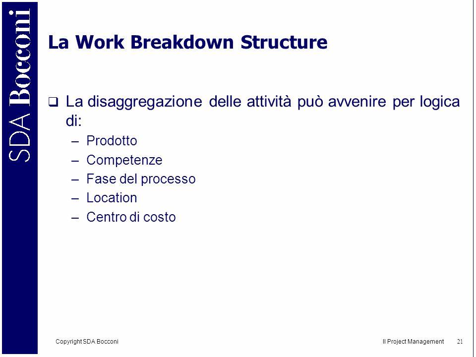 Copyright SDA Bocconi Il Project Management 22 Gli elementi critici per una buona WBS Quanti livelli per una WBS efficace.