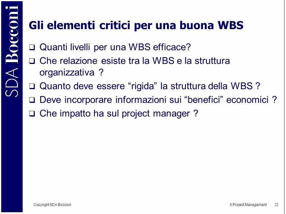 Copyright SDA Bocconi Il Project Management 23 WBS SPAGHETTI Obiettivo: Preparare spaghetti al pomodoro, al dente, per due persone, in 30.