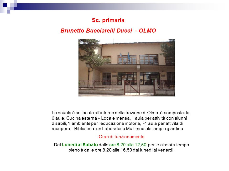 La scuola primaria Antonio Curina, inaugurata nel 1974, è situata nella zona La Sella-San Lazzaro. Ledificio si compone di: 16 aule occupate dalle cla
