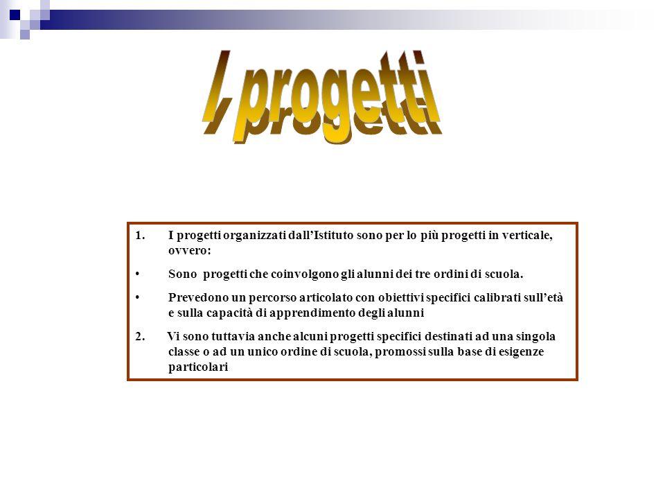 1.I progetti organizzati dallIstituto sono per lo più progetti in verticale, ovvero: Sono progetti che coinvolgono gli alunni dei tre ordini di scuola.