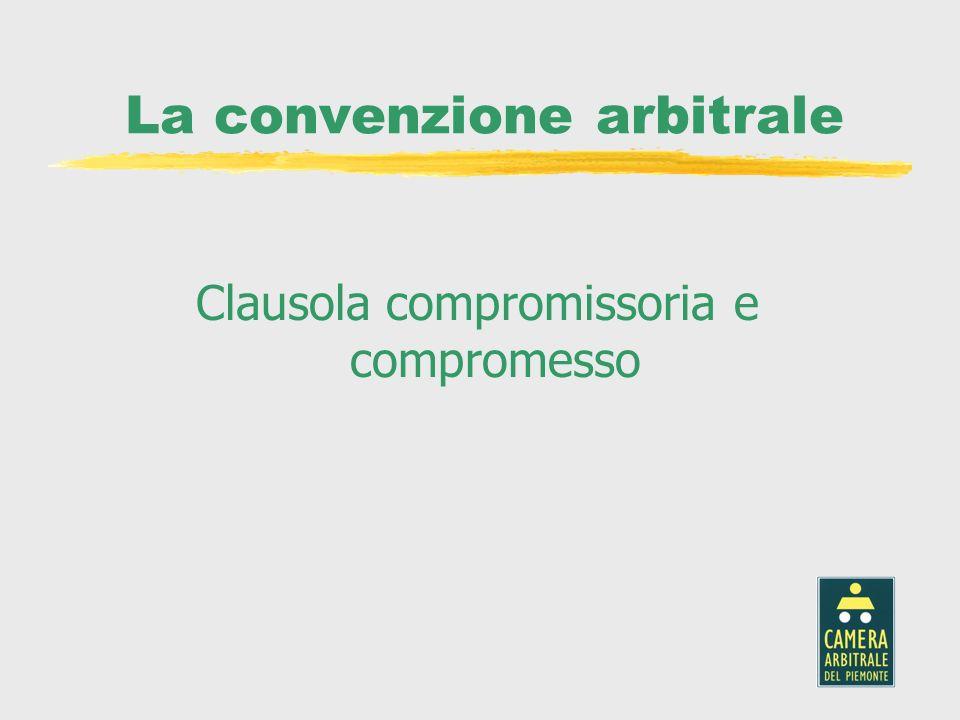 La convenzione arbitrale Clausola compromissoria e compromesso