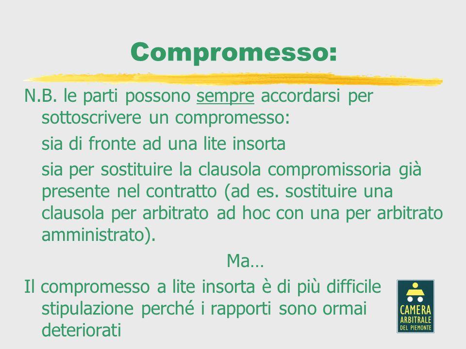 Compromesso: N.B. le parti possono sempre accordarsi per sottoscrivere un compromesso: sia di fronte ad una lite insorta sia per sostituire la clausol