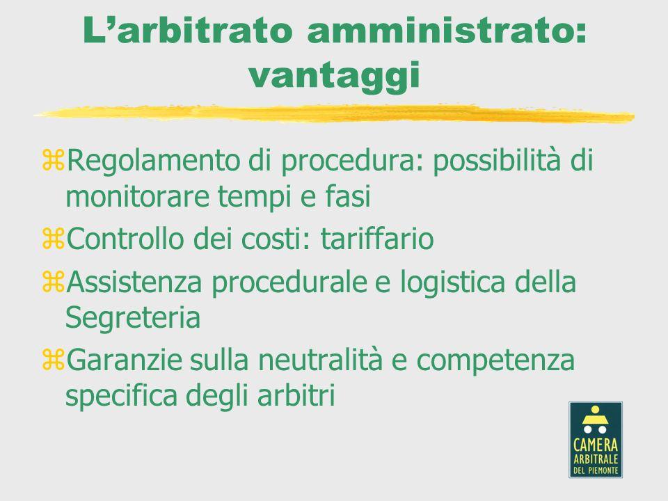 Larbitrato amministrato: vantaggi zRegolamento di procedura: possibilità di monitorare tempi e fasi zControllo dei costi: tariffario zAssistenza proce