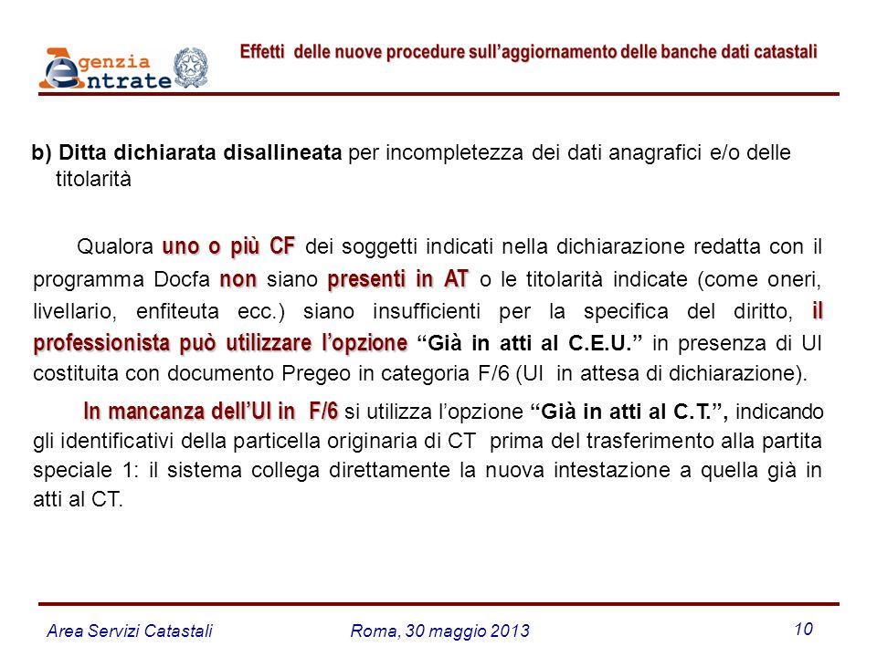 Area Servizi CatastaliRoma, 30 maggio 2013 10 b) Ditta dichiarata disallineata per incompletezza dei dati anagrafici e/o delle titolarità uno o più CF