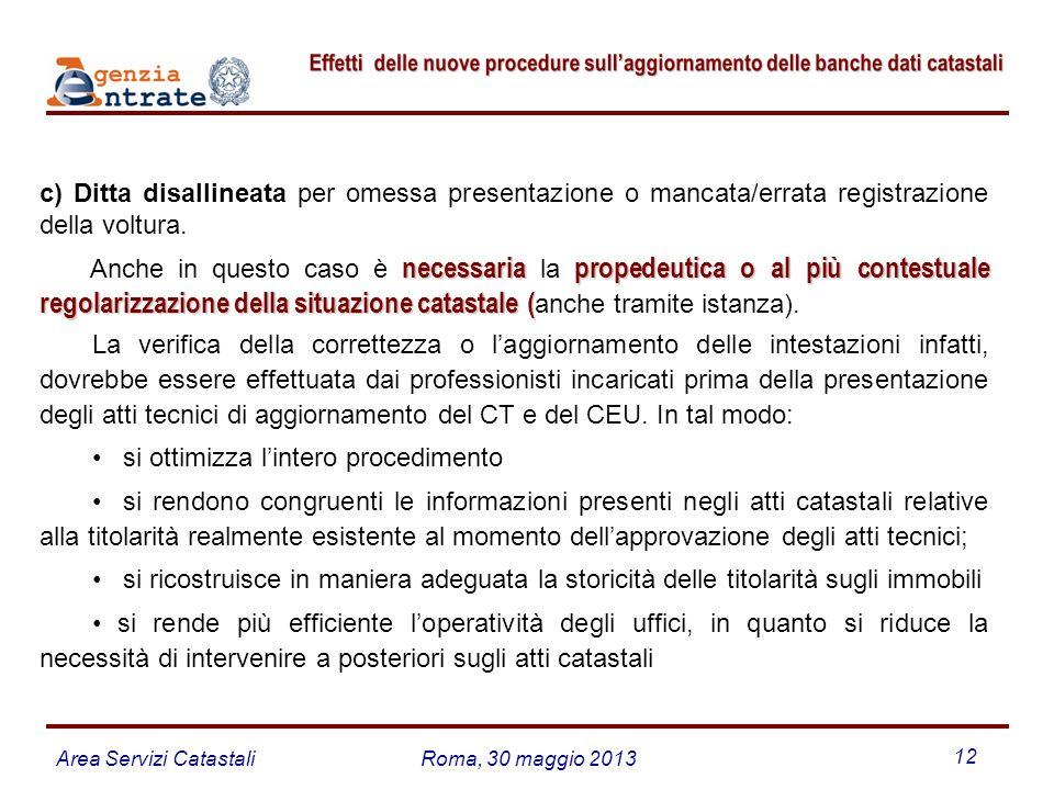 Area Servizi CatastaliRoma, 30 maggio 2013 12 c) Ditta disallineata per omessa presentazione o mancata/errata registrazione della voltura. necessariap