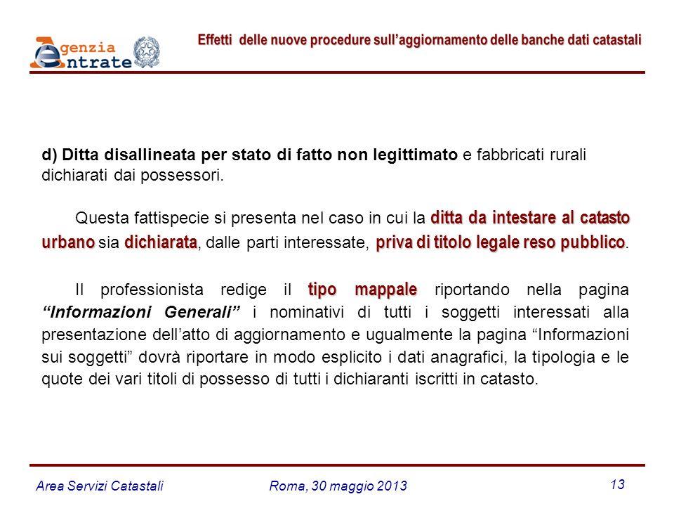 Area Servizi CatastaliRoma, 30 maggio 2013 13 d) Ditta disallineata per stato di fatto non legittimato e fabbricati rurali dichiarati dai possessori.