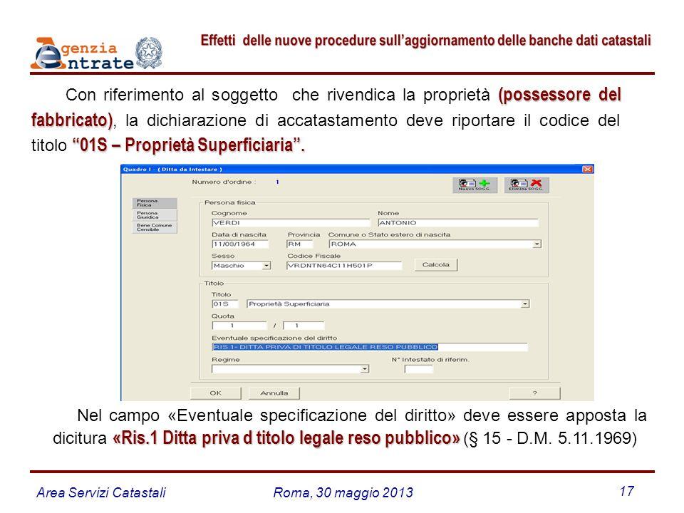 Area Servizi CatastaliRoma, 30 maggio 2013 17 (possessore del fabbricato) 01S – Proprietà Superficiaria. Con riferimento al soggetto che rivendica la
