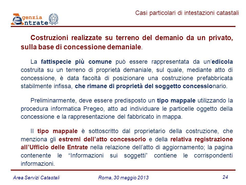 Area Servizi CatastaliRoma, 30 maggio 2013 24 Costruzioni realizzate su terreno del demanio da un privato, sulla base di concessione demaniale. La fat