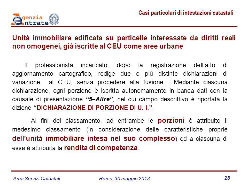 Area Servizi CatastaliRoma, 30 maggio 2013 28 Casi particolari di intestazioni catastali Casi particolari di intestazioni catastali Unità immobiliare