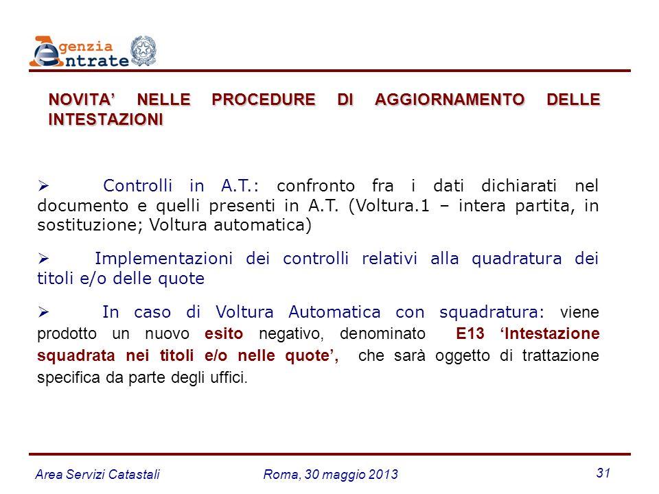 Area Servizi CatastaliRoma, 30 maggio 2013 31 Controlli in A.T.: confronto fra i dati dichiarati nel documento e quelli presenti in A.T. (Voltura.1 –