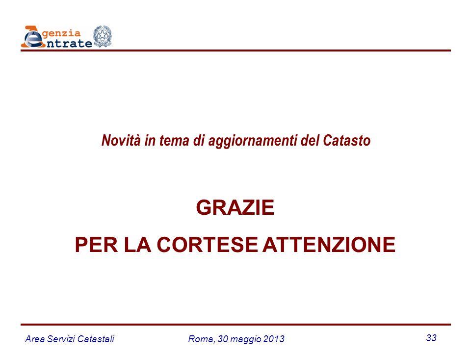 Area Servizi CatastaliRoma, 30 maggio 2013 33 GRAZIE PER LA CORTESE ATTENZIONE Novità in tema di aggiornamenti del Catasto
