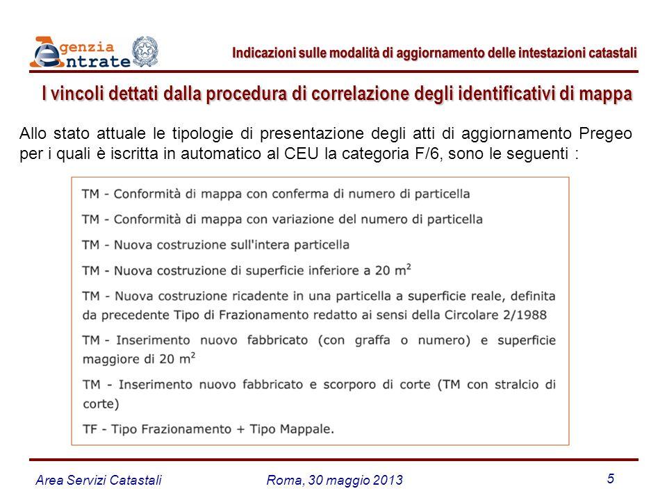 Area Servizi CatastaliRoma, 30 maggio 2013 5 I vincoli dettati dalla procedura di correlazione degli identificativi di mappa Allo stato attuale le tip