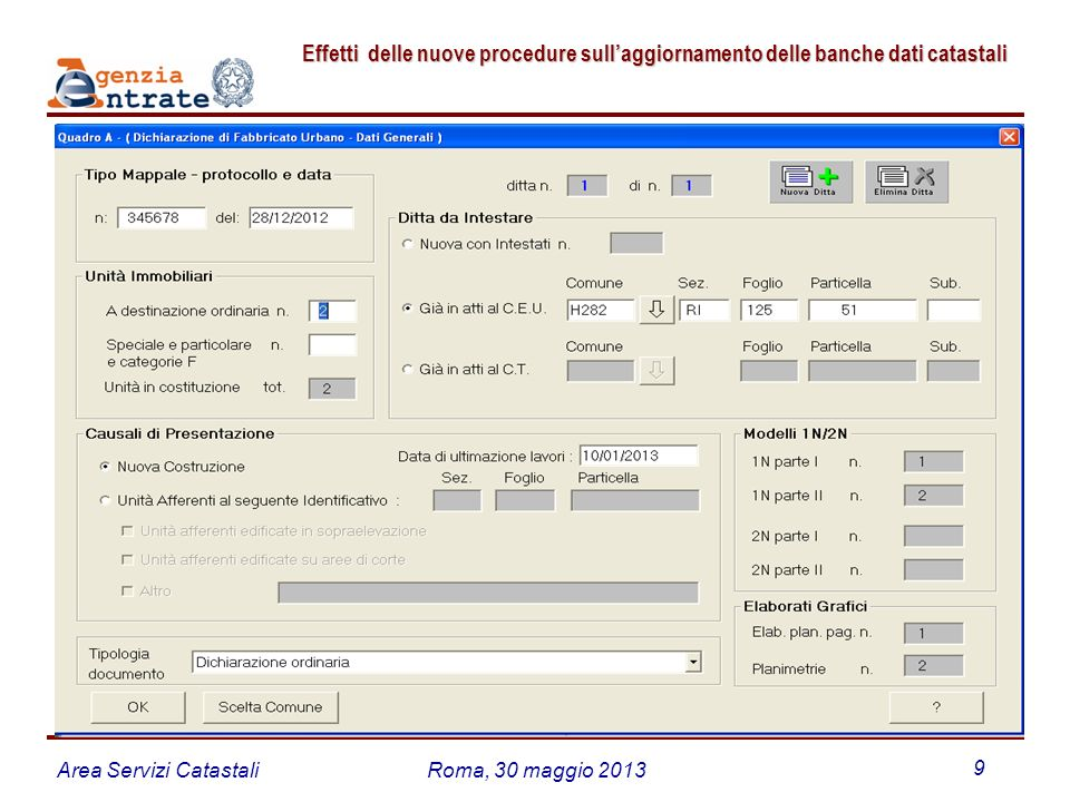 Area Servizi CatastaliRoma, 30 maggio 2013 9 Effetti delle nuove procedure sullaggiornamento delle banche dati catastali Effetti delle nuove procedure