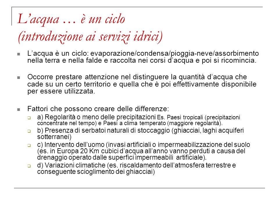 Lacqua … è un ciclo (introduzione ai servizi idrici) Lacqua è un ciclo: evaporazione/condensa/pioggia-neve/assorbimento nella terra e nella falde e ra