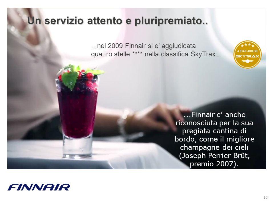 15...Finnair e anche riconosciuta per la sua pregiata cantina di bordo, come il migliore champagne dei cieli (Joseph Perrier Brût, premio 2007). Un se